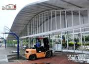 Sandwich wall clear span tents transparent pvc roof cover outside