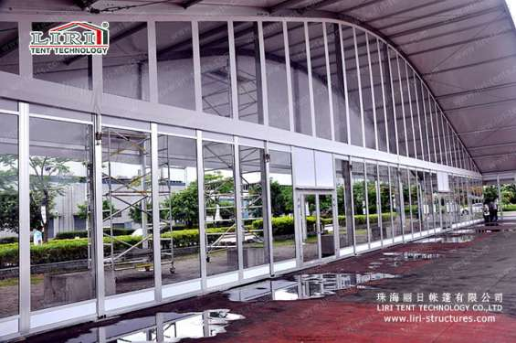 Pictures of Sandwich wall clear span tents transparent pvc roof cover outside 5