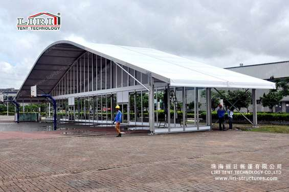 Pictures of Sandwich wall clear span tents transparent pvc roof cover outside 3