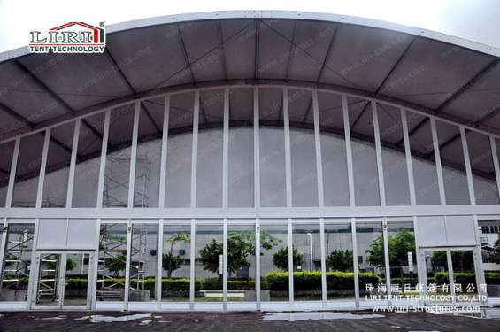 Pictures of Sandwich wall clear span tents transparent pvc roof cover outside 6