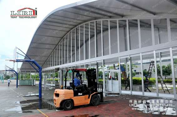 Pictures of Sandwich wall clear span tents transparent pvc roof cover outside 1