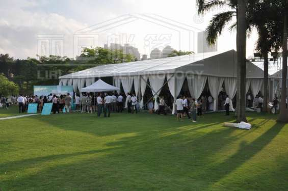 White luxury wedding tents transparent aluminum frame pleated roof